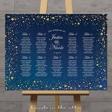 wedding table assignment board stars wedding seating chart celestial night silver gold stars