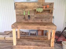 Free Wooden Potting Bench Plans by Potting Bench Made From Repurposed Wooden Pallets 1001 Gardens