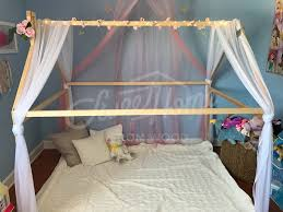 light blue and pink fairy flowers canopy girls room frame bed