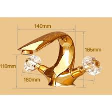 la rochelle dual crystal handle deck mount gold bathroom faucet