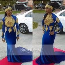 royal blue african prom dress 2017 new arrive long sleeve o neck