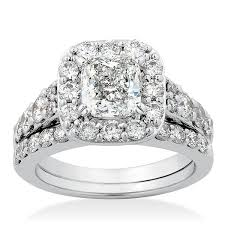 diamond bridal sets cushion cut diamond bridal set 14k ben bridge jeweler