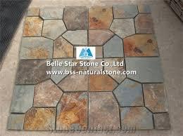 multicolour riven slate meshed flagstone rusty split face slate