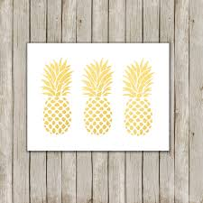 Pineapple Home Decor by 5x7 Pineapple Trio Print Metallic Gold Wall Art Gold