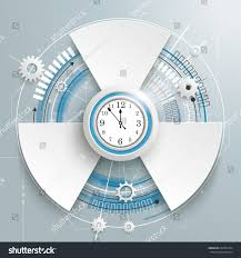 futuristic gear wheel 3 options clock stock vector 633305264