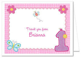 1st birthday girl hugs and stitches 1st birthday girl thank you note cards