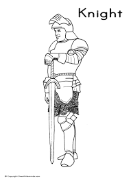 medieval knight two handed sword colouring page