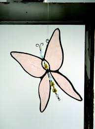 j devlin glass chagne iridescent stained glass butterfly