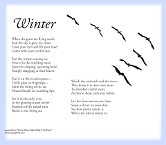 sensory language winter poem for children great for and