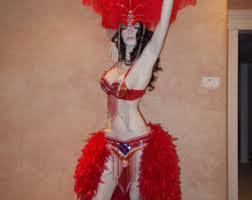 Vegas Showgirl Halloween Costume Mardi Gras Masquerade Feather Costume Fantasy Showgirl