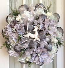 white deco mesh deco mesh christmas wreath white silver snowflakes poinsettias
