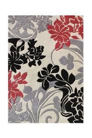 Red White And Black Rug Gray And Red Rug Rugs Decoration