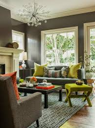 grey and dark green living room interior design