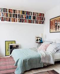 amazing bedroom storage ideas with wall mounted bookcase and side