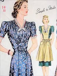 1930s beautiful dress and pinafore apron pattern simplicity 3598