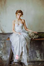 dusty wedding dress sweetheart ivory lace bodice with dusty blue tone tulle informal