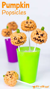 Vegetarian Halloween Appetizers by Pumpkin Popsicles Rice Krispie Treats Kids Craft Room