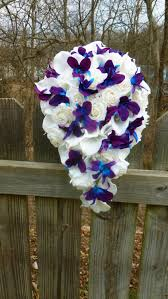 blue and purple orchids cascading ivory white real touch calla and purple blue