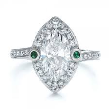 and emerald engagement rings custom marquise with halo and emerald engagement ring
