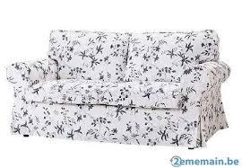 housse de canapé ikea ektorp canapé ikéa ektorp 2 places motif fleuri bleu comme neuf a vendre