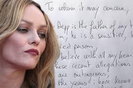 johnny depp u0027s ex vanessa paradis pens handwritten letter defending