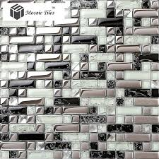backsplash for black and white kitchen glass tile silver black white metallic bathroom wall