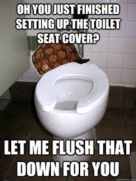 Toilet Seat Down Meme - oh you just finished setting up the toilet seat cover let me
