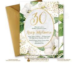 white flower birthday invitation printable gold glitter invite