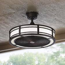 Ceiling Fan With Led Light Stylish Compact Indoor Outdoor Drum Cage Ceiling Fan Bronze Led