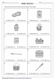 measuring units worksheet weight more or less school visuals worksheets