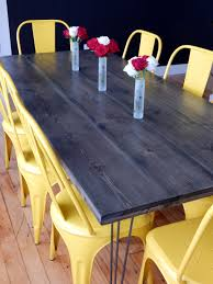 staining a table top diy dining table