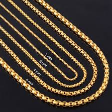 gold necklace chains wholesale images Width 2mm 3mm 4mm 5mm gold stainless steel round box link chain jpg