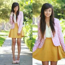 elaine jung persun pink polka dot blazer forever 21 creme