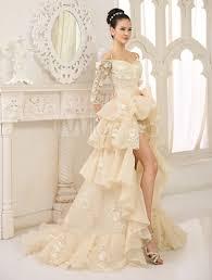 brautkleider chagnerfarben elegantes 2 in 1 brautkleid mit carmenausschnitt und blümten und