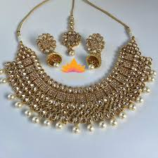 necklace sets images Polki choker with pearls jpg