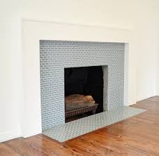 ocean 1x2 mini glass subway tile glass tile fireplace tiled