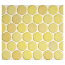 penny round mosaic amarillo gloss complete tile collection