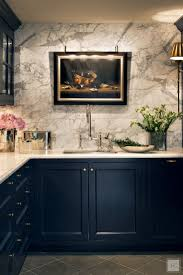 best images about kitchen pinterest design contemporary blue kitchen with gray marble wall