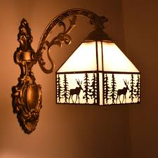 Stained Glass Wall Sconce Wall L Elk Pattern Stained Glass Wall Sconce Stairs