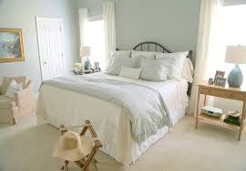 blue walls bedroom shabby chic style with nightstand traditional