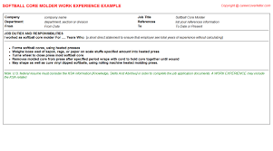 Sample Us Resume by Softball Core Molder Cv Work Experience Samples