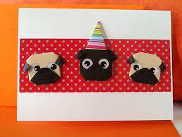 pug origami birthday card origami pug card handmade card dog