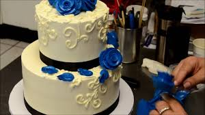 two tier blue roses wedding cake decorating tutorial youtube