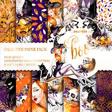 halloween paper pack watercolor fall backgrounds cute pumpkin