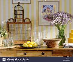 country room with striped yellow wallpaper stock photo royalty