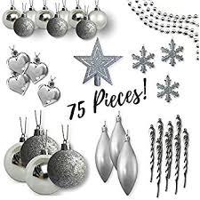 Silver Christmas Tree Baubles - amazon com christmas tree decorations silver mirror ball