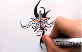 how to draw a nautical star shading in color and tribal design