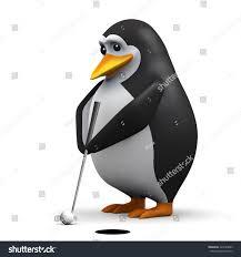 3d render penguin putting golf ball stock illustration 225289843