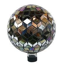 Garden Gazing Globe Alpine 10 Inch Silver Gazing Globe Multi Color Glass Outdoor