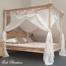 four poster bed hand carved whitewash turned posts balinese
